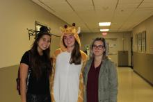 Trick-or-treaters in hallway