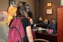 Trick-or-treaters in Sean's office