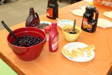Pancake ingredients on a table