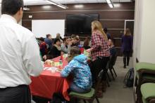 Students eating pancakes