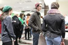Students standing in line for pancakes