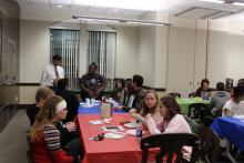 Students talking at the table
