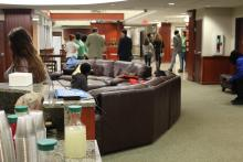 A drink station in the Honors Hall lounge