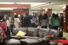 Students gathered in the Honors Hall lounge