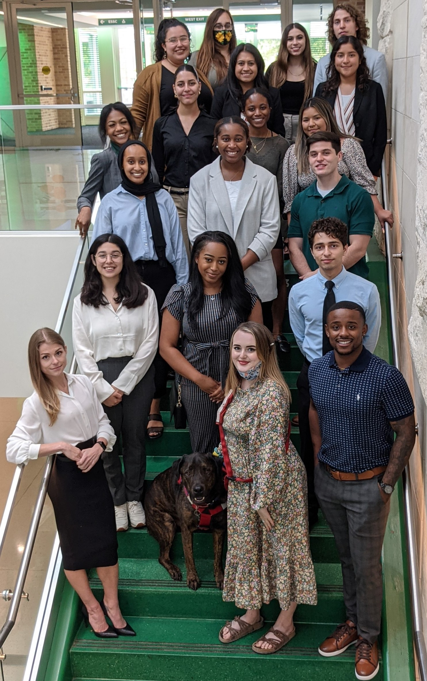 2021 summer cohort scholars and director posed on stairs in union