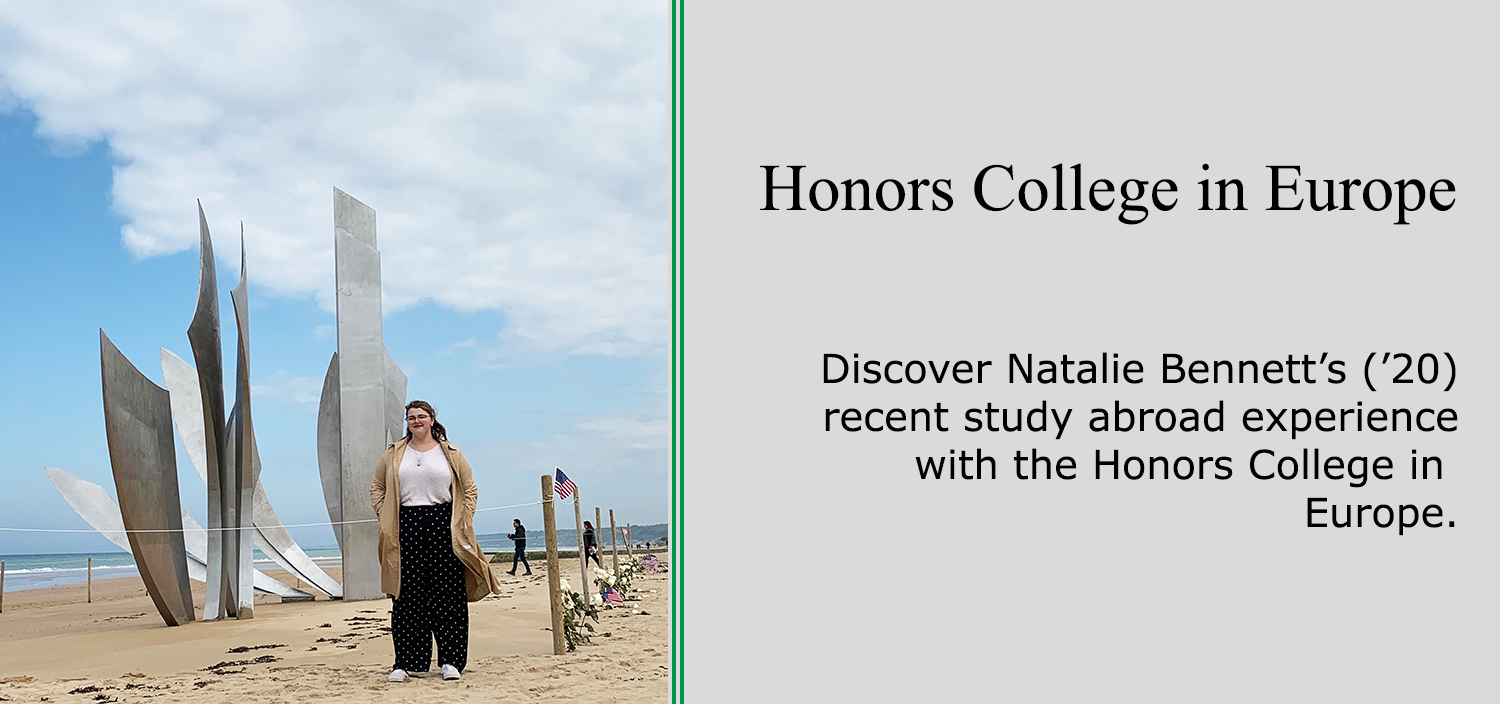 Natalie Bennett standing on Omaha Beach