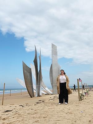 Natalie Bennett on Omaha Beach