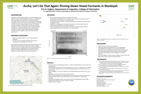 Accha, Let's Do That Again: Pinning-Down Vowel Formants in Mankiyali
