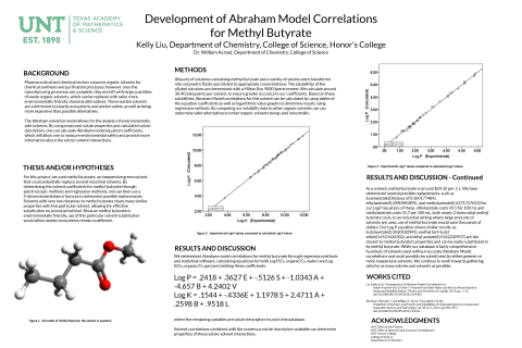 Development of Abraham Model Correlations for Methyl Butyrate