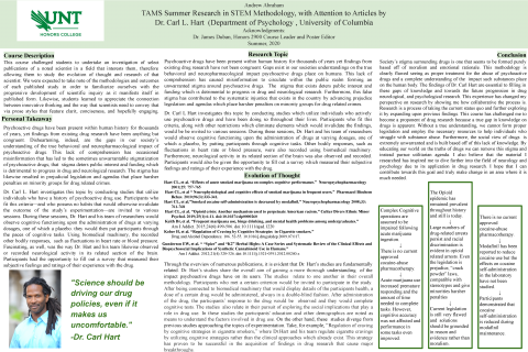 TAMS Summer Research in STEM Methodology, with Attention to Articles by Dr. Carl L. Hart