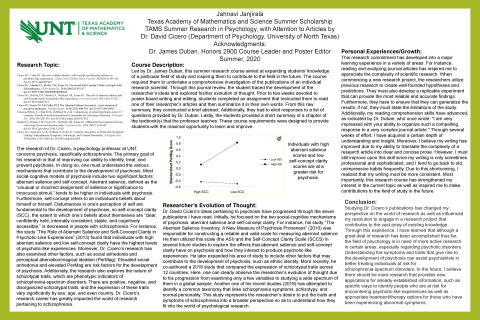 TAMS Summer Research in Psychology, with Attention to Articles by Dr. David Cicero