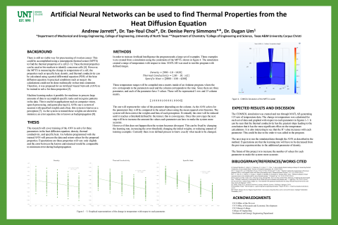 Artificial Neural Networks can be used to find Thermal Properties from the Heat Diffusion Equation