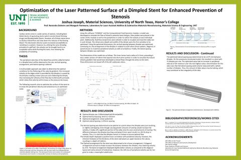 Optimization of the Laser Patterned Surface of a Dimpled Stent for Enhanced Prevention of Stenosis