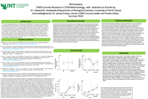 TAMS Summer Research in STEM Methodology, with Attention to Articles by Dr. Edward M. Dzialowski