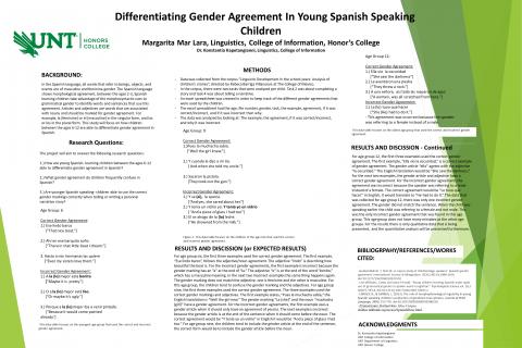 Differentiating Gender Agreement In Young Spanish Speaking Children
