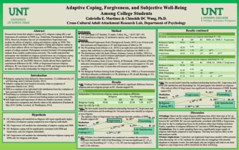 Adaptive Coping, Forgiveness and Subjective Well-Being Among College Students