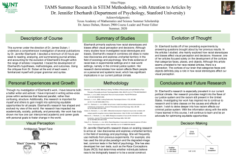 TAMS Summer Research in STEM Methodology, with Attention to Articles by Dr. Jennifer Eberhardt