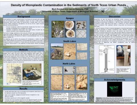 Density of Microplastic Contamination in the Sediments of North Texas Urban Ponds