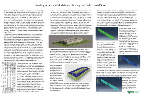 Creating Analytical Models and Testing on Cold-Formed Steel
