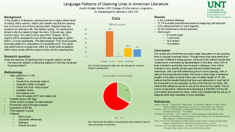 Language Patterns of Opening Lines in American Literature